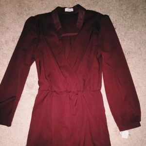 burgundy knee length dress